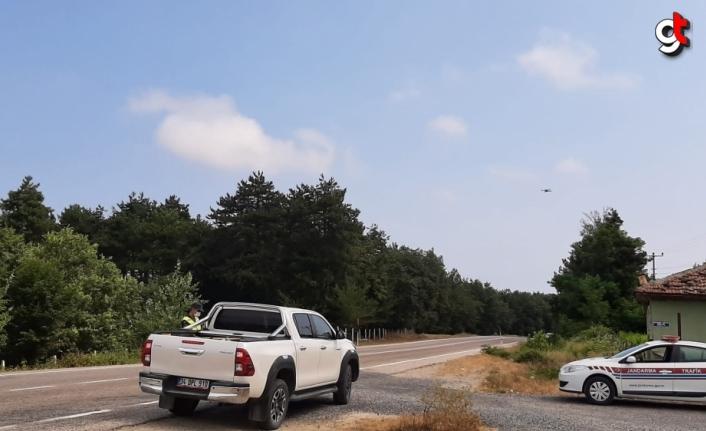 Samsun'da jandarma ekipleri drone destekli uygulama yaptı