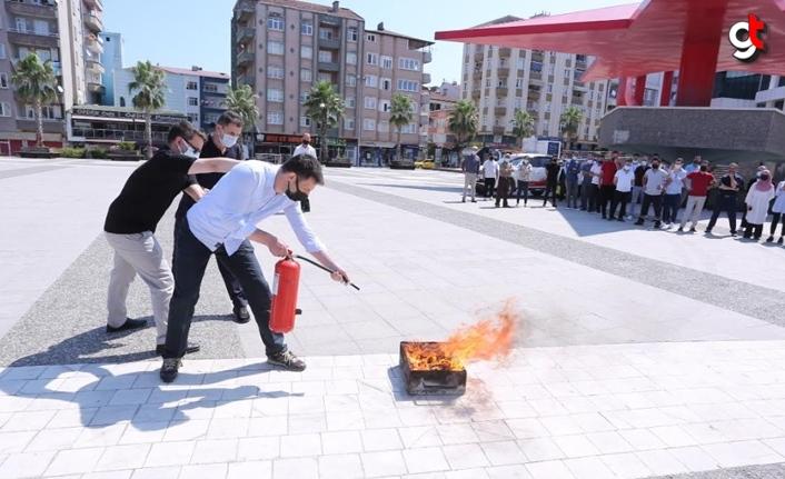 Canik Belediyesi yangın tatbikatı düzenledi