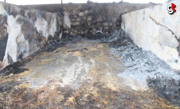 Amasya'da besi çiftliğinde çıkan yangında 200 ton saman ve 25 ton yem zarar gördü