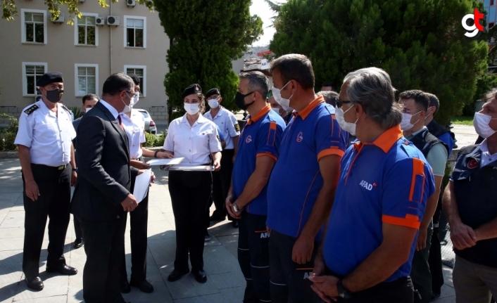 Karadeniz'de sel bölgesindeki çalışmalara Tokat'tan katılan 350 kişiye teşekkür belgesi