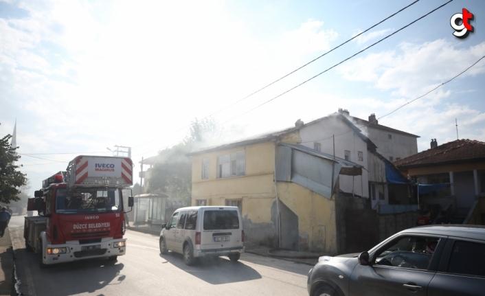 Düzce'de müstakil evde çıkan yangın hasara neden oldu