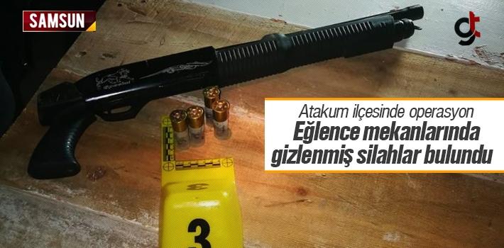 Atakum'da Alkollü Mekanda Gizlenmiş Silahlar Bulundu
