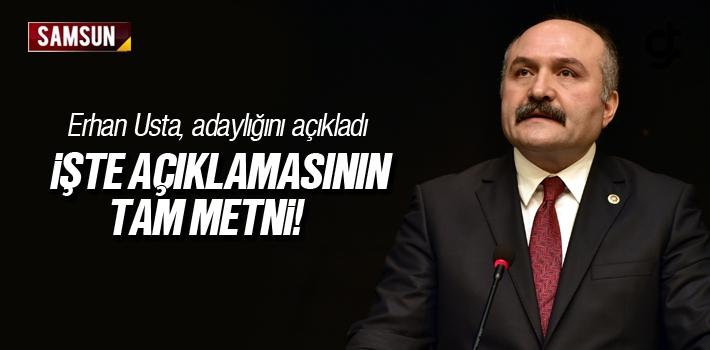 Erhan Usta, Samsun Büyükşehir Belediye Başkan Adaylığını Açıkladı