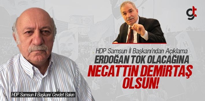 HDP Samsun İl Başkanı Cevdet Bakın; 'Erdoğan Olacağına Necattin Olsun'