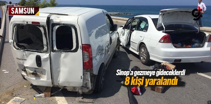 Samsun Yakakent'te Trafik Kazası 8 Kişi Yaralandı