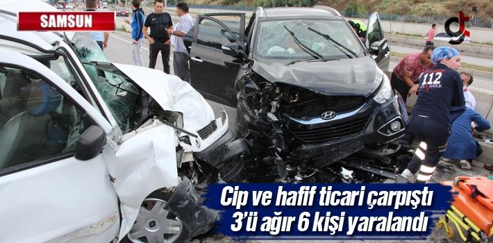 Samsun'da Cip Ve Hafif Ticari Araç Çarpıştı: 6 Yaralı