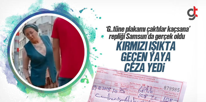 Samsun'da Kırmızı Işıkta Geçen Yaya Ceza Yedi