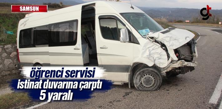 Samsun'da Öğrenci Servisi İstinat Duvarına Çarptı:5 Yaralı