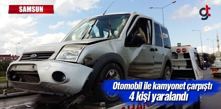 Samsun'da Otomobil İle Kamyonet Çarpıştı 4 Kişi Yaralandı