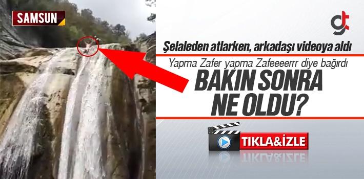 Samsun'da Şelaleden Atlayan Arkadaşına Tepkisi; Yapma Zafer