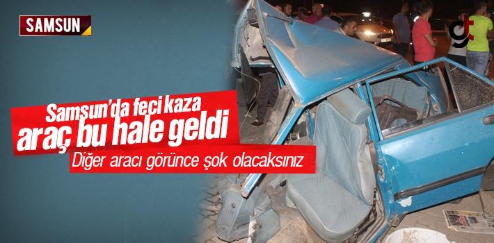 Samsun'da Trafik Kazası Tofaş İkiye Bölündü