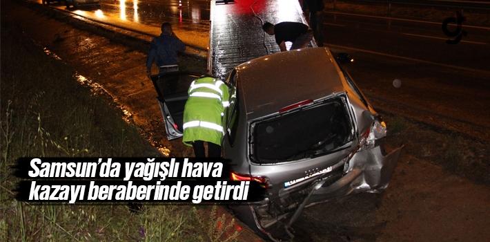Samsun'da Yağışlı Hava Kazayı Beraberinde Getirdi