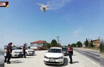 Samsun'da drone ile havadan trafik denetimi
