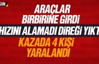 Samsun Haber; Atakumda araçlar çarpıştı, direk...