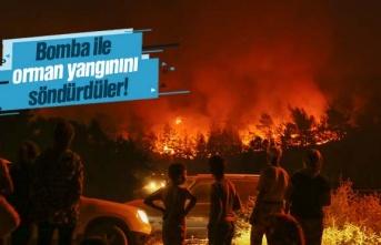 Bomba ile orman yangınını söndürdüler