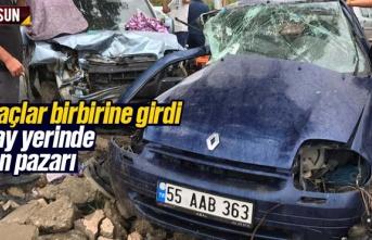 Samsun'da iki araç kaza yaptı biri ağır 4 yaralı