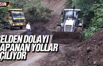 Samsun'da sel nedeniyle kapanan yollar açılıyor