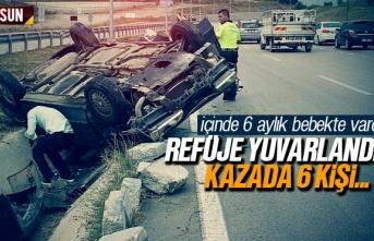 Samsun Havza'da araç refüje yuvarlandı