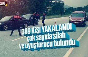 Samsun'da polis operasyonunda 389 kişi yakalandı,...