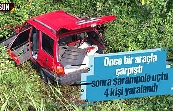 Önce kaza yaptı sonra şarampole uçtu