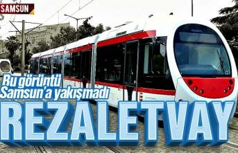 Samsun'da tramvay koltukları pislikten görünmüyor