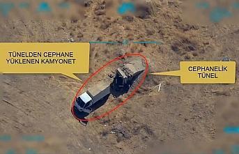 PKK/PYD-YPG'li teröristlere mühimmat ikmali yapan kamyonet böyle vuruldu, video haber