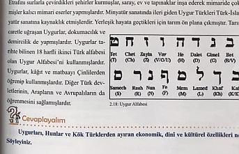 Milli Eğitim ders kitabına Uygur alfabesi yerine...