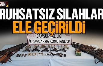 Samsun'da ruhsatsız silahlar ele geçirildi