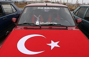 Samsun'da modifiye araç tutkunları şehitleri andı