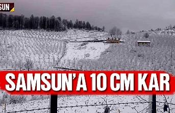 Samsun'a 10 cm kar yağdı