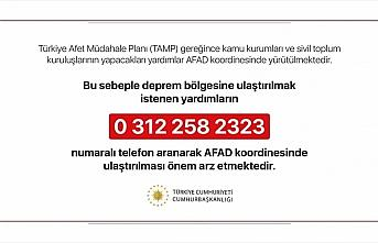 Cumhurbaşkanlığından 'deprem yardımları AFAD...