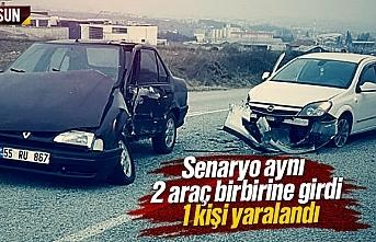 Samsun'da iki araç birbirine girdi