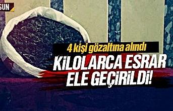 Samsun'da kubar esrar ele geçirildi, 4 kişi yakalandı