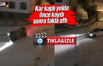Samsun Atakum'da araç sürüklenerek takla attı