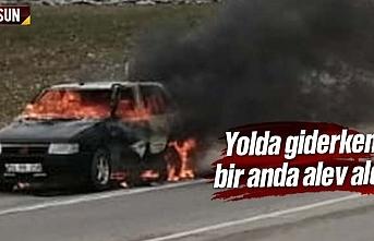 Samsun'da seyir halinde giden araç yandı