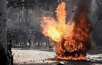 Yeni Delhi'de vatandaşlık yasasına karşı protestolarda...