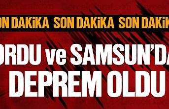 Ordu'nun Korgan, Kumru ilçesinde ve Samsun'da deprem oldu