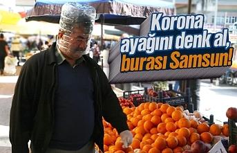 Samsun'da pazarcıların koronavirüs önlemi