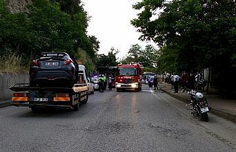 Samsun'da otobüs ile otomobil çarpışması...