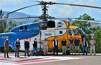 Karabük'te yangın söndürme helikopteri göreve...