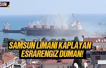 Samsun limanını kaplayan esrarengiz duman