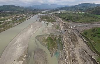 Zonguldak Filyos Çayı 5. kısım inşaatında çalışmalar...