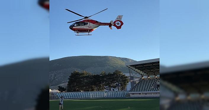 Amasya'da ambulans helikopter 7 günlük bebek için havalandı