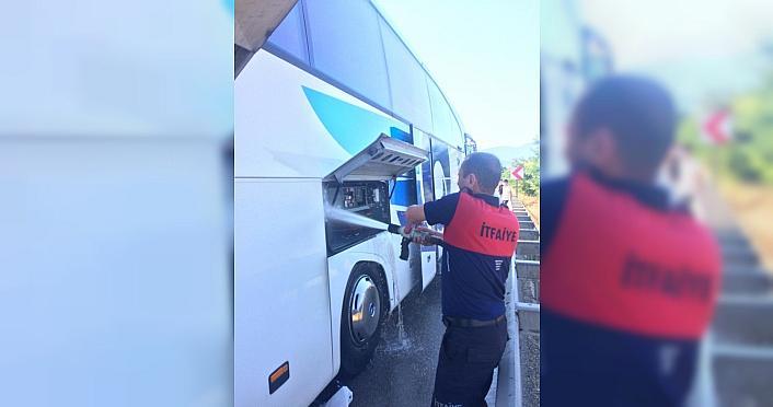 Karabük'te yolcu otobüsündeki yangın paniğe neden oldu