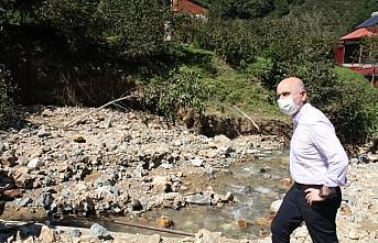 Ulaştırma ve Altyapı Bakanı Adil Karaismailoğlu, Giresun'daki sel bölgesinde: