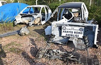 Ordu'da çalıntı araç parçalayıp satan şüpheliler...