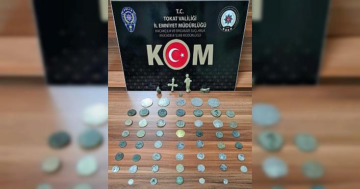 Tokat'ta düzenlenen operasyonda 57 parça tarihi eser ele geçirildi