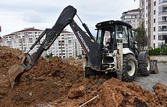 Trabzon'da kanalizasyon çalışması sırasında...