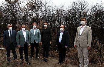 Yetkililer Kızılırmak Deltası Kuş Cenneti'ndeki yangın çıkan bölgede incelemede bulundu