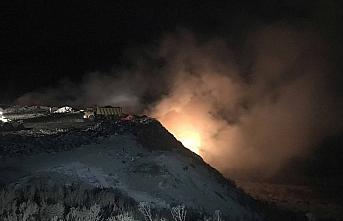 Karabük'te çöp toplama alanında çıkan yangın...
